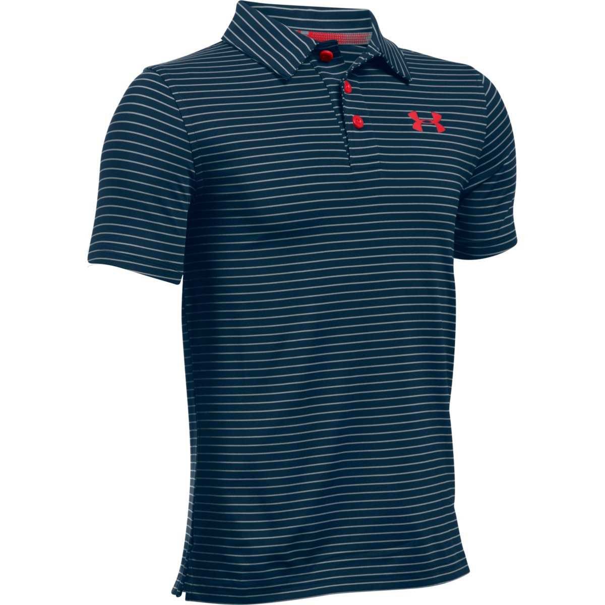 eaec3aa1 Under Armour Golf Boys' Playoff Stripe Polo - Academy/Steel/Red