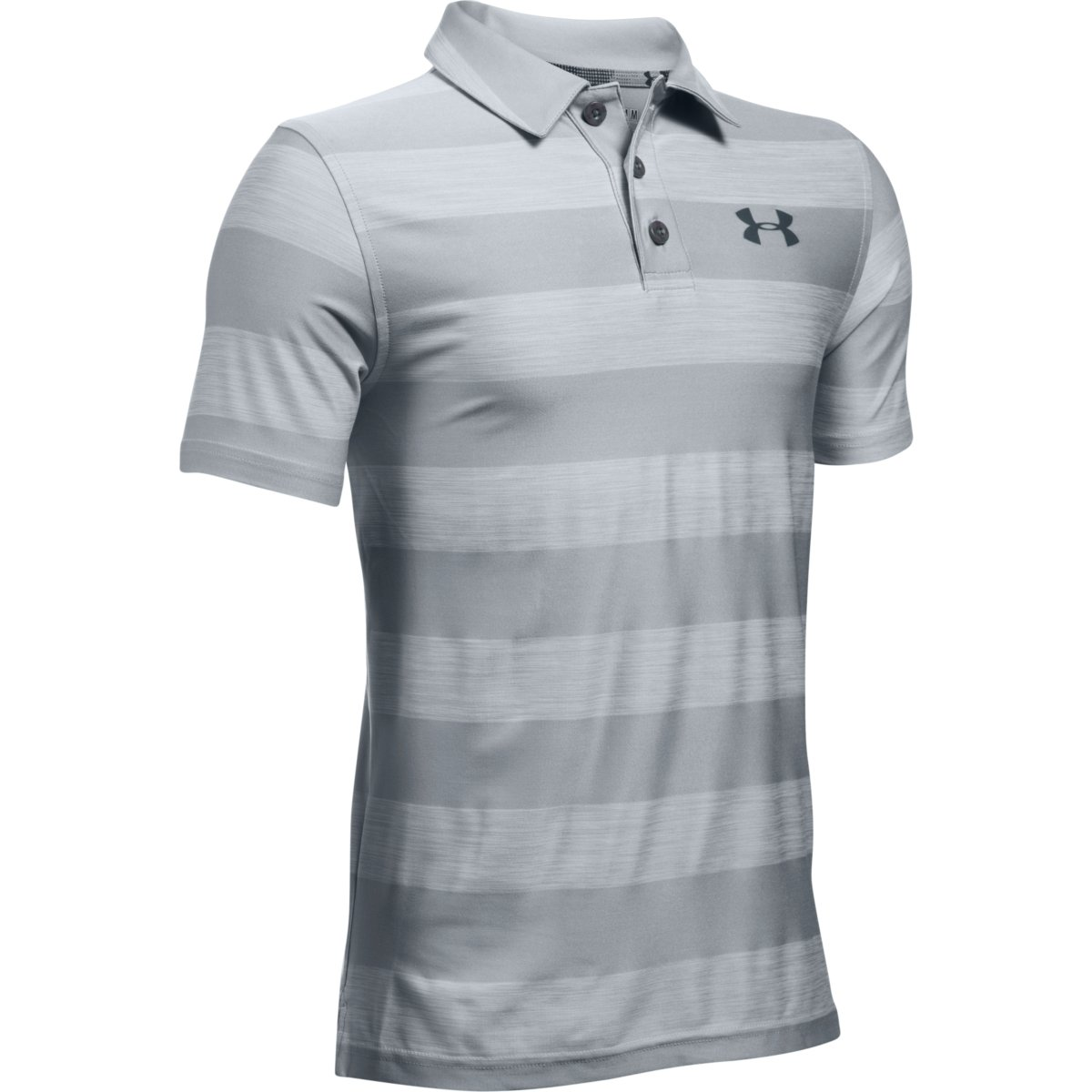 15b69bd3 Under Armour Golf Boys' Playoff Stripe Polo - Overcast Gray/Stealth Gray