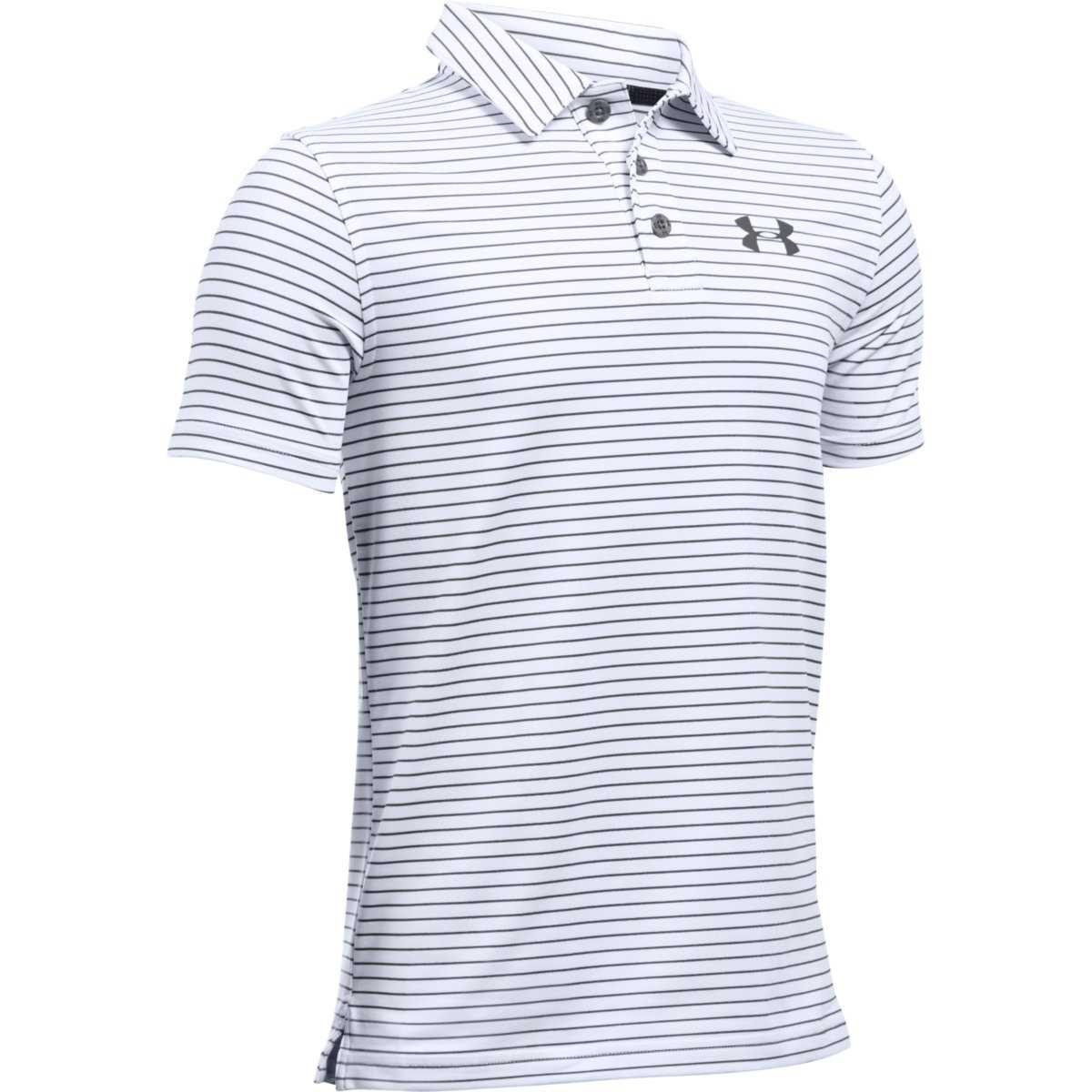 7589d378 Under Armour Golf Boys' Playoff Stripe Polo - White/Graphite