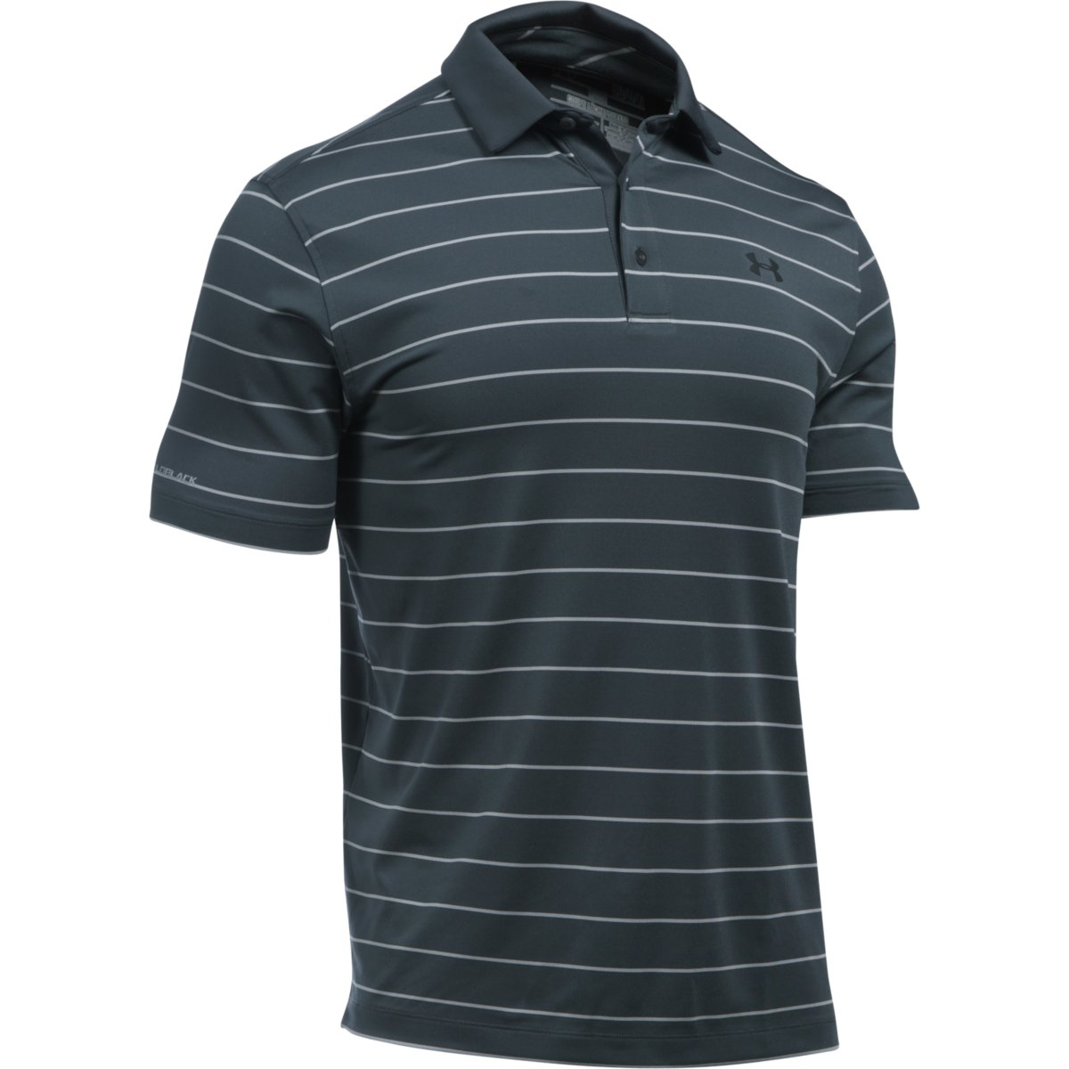 f9527998 Under Armour Men's Coldblack Swing Plane Stripe Polo - Stealth Gray/Overcast  Gray