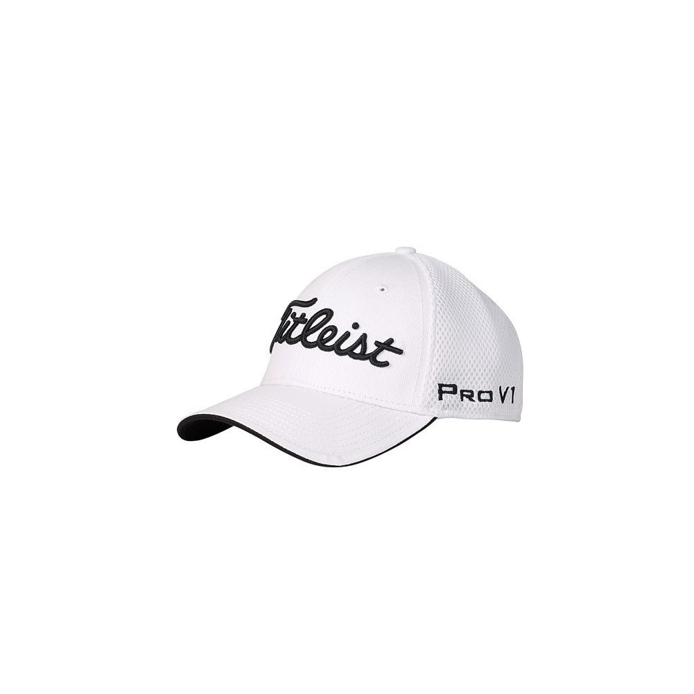 Titleist Pro V1 Sports Mesh Fitted Hat White Medium  LG - Golfland ... 1fe909734be