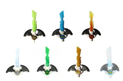 LEGO® Ninjago: Lots of 7 Djin Swords - Lloyd, Zane, Wu, Cole, Nya, Jay & Kai