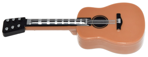 LEGO® City - Brown Guitar with Black Neck and Silver Strings