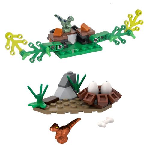 LEGO Jurassic World: 2 Mini Sets Raptor Nest and Baby Raptor Hiding