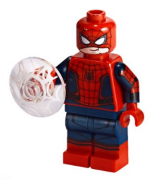 LEGO Superheroes: Spiderman Peter Parker with mask lifted and Web Shield