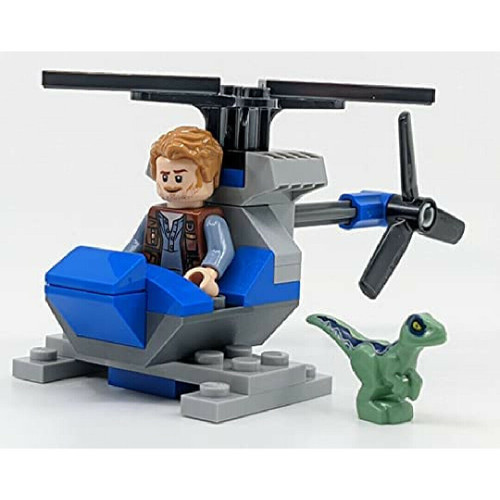 LEGO Jurassic World: Owen with Helicopter and Baby Raptor Blue (OwenHeliFoil122113)