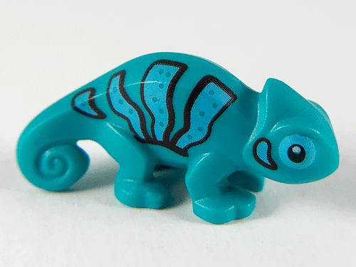LEGO® Lizard - Chameleon - Dark Turquoise with Black and Bright Light Blue Stripes Pattern