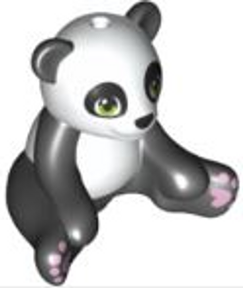 LEGO® City - Panda Bear Sitting with Lime Eyes Lavender Paws and White Head and Stomach Pattern