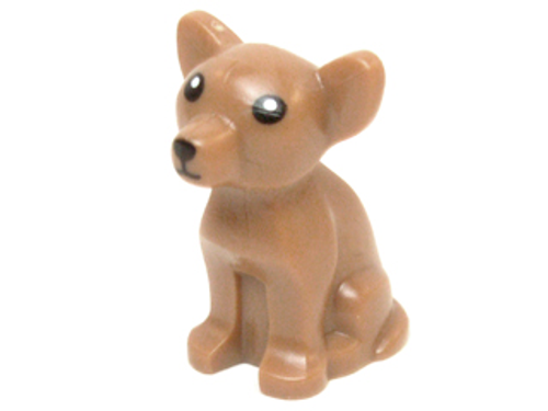 LEGO® City - Dog - Chihuahua with Black Eyes Nose and Mouth and White Pupils Pattern