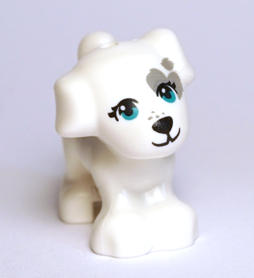 LEGO® City - White Dog - Dark Turquoise Eyes, Black Nose and Mouth and Dark Bluish Gray Patch Pattern (Cookie)