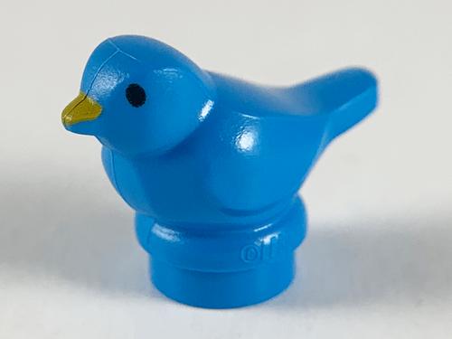 LEGO® City - Dark Azure Bird, Small with Black Eyes and Bright Light Orange Beak Pattern