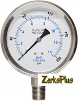 """Liquid Filled 4"""" Pressure Guage All Stainless Case Lower Mount 0-200 PSI"""
