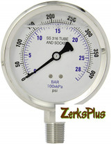 """Liquid Filled 4"""" Pressure Guage All Stainless Case Lower Mount 0-400 PSI"""