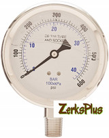 """Liquid Filled 4"""" Pressure Guage All Stainless Case Lower Mount 0-600 PSI"""