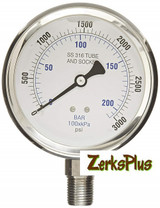 """Liquid Filled 4"""" Pressure Guage All Stainless Case Lower Mount 3000 PSI"""