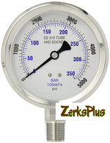 """Liquid Filled 4"""" Pressure Guage All Stainless Case Lower Mount 5000 PSI"""