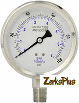 """Liquid Filled 4"""" Pressure Guage All Stainless Case Lower Mount 15,000PSI"""