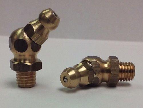 1/4-28 UNF 45 Degree Brass Grease Zerk Fitting 1Pcs