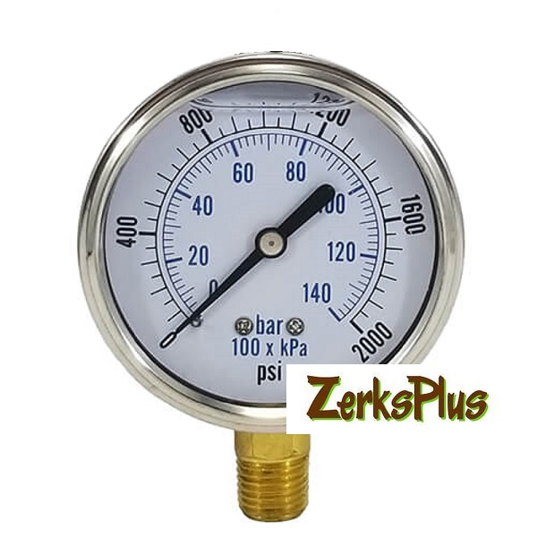 "2000 PSI Liquid Filled 2-1/2"" Pressure Guage Stainless Case Lower Mt"