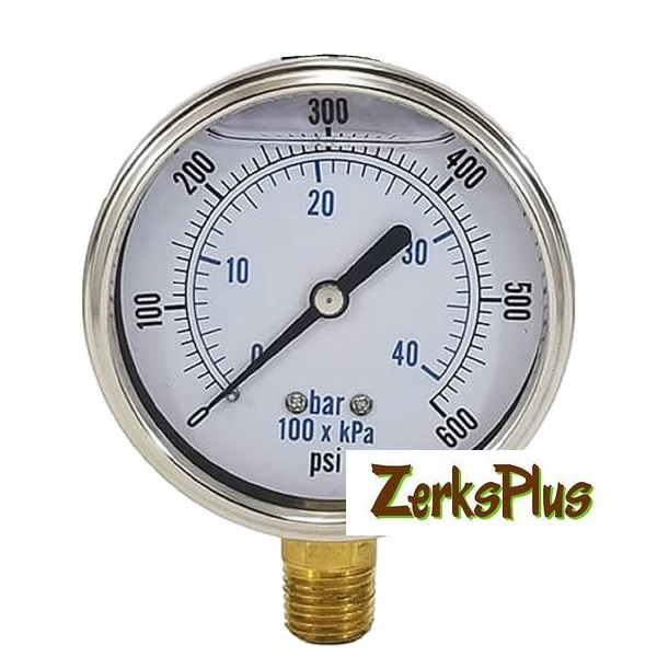 "100 PSI Liquid Filled 2-1/2"" Pressure Guage Stainless Case Lower Mt"