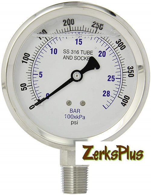 "Liquid Filled 4"" Pressure Guage All Stainless Case Lower Mount 0-400 PSI"