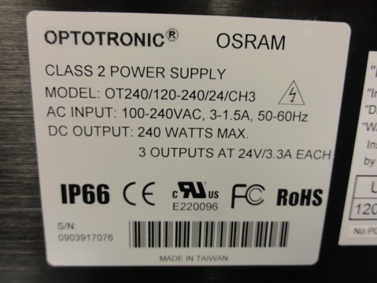 Optotronic OSRAM OT240/120-240/24/CH3 Class 2 Power Supply - NEW