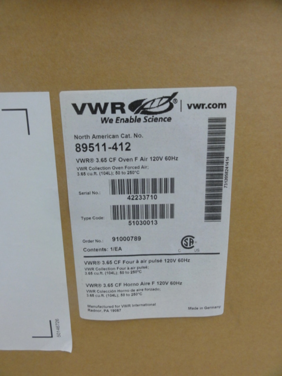 VWR Cat No. 89511-412 Collection Oven Forced Air, 3.65CF (104L); 50-250C