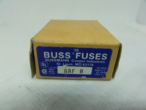 (10) Bussmann BAF-8 Midget Fuses, 8 Amp, 250V *NEW BOX OF 10*