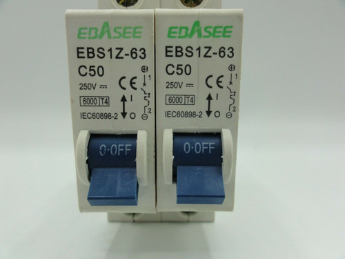 (2) Ebasee EBS1Z-63 50A 250V Miniature Circuit Breakers