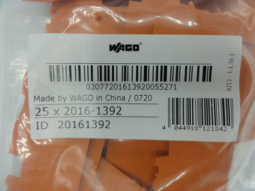 (25) Wago 2016-1392 1mm End and Intermediate Plate for 2016-1300 Series