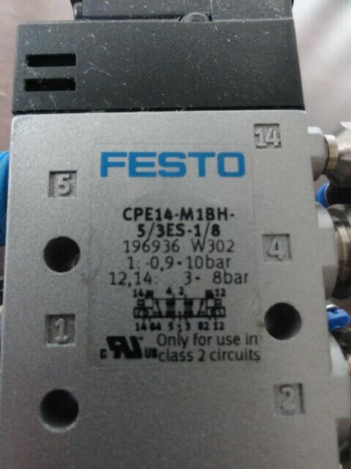 (3) Festo CPE14-M1BH-5/3ES-1/8 Directional Control Solenoid Valves