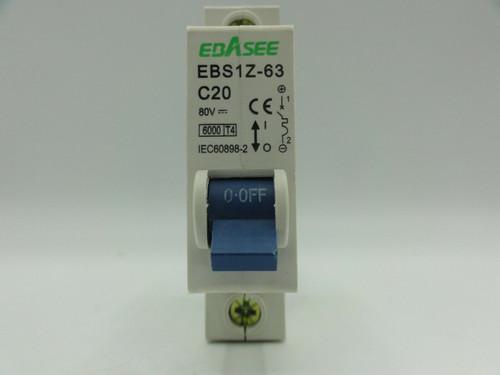 (3) Ebasee EBS1Z-63 80V 20A Miniature Circuit Breakers