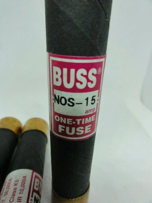 (3) Bussmann NOS 15 One-Time Fuses, 15 AMP, 600 VOLT, Class K5
