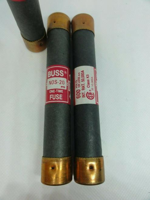 (3) Cooper / Bussman NOS-20 Dual Element Time Delay Fuses, 20 AMP, 600 Volt
