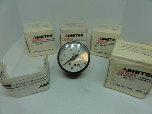 """(4) AMETEK PRESSURE DIAL INDICATOR GAUGES 0-100 PSI, 1 1/2"""""""
