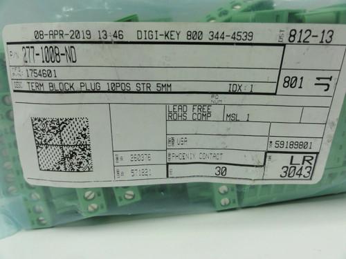 (30) Phoenix Contact 5.08mm Screw Terminal Block Plug Part # 277-1008-ND