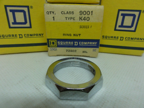 (4) SQUARE D 9001 Type K40 RING NUTS, SERIES F *NEW IN BOX - OLD STOCK*