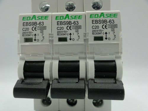 (7) Ebasee EBS9B-63 20A Miniature Circuit Breakers