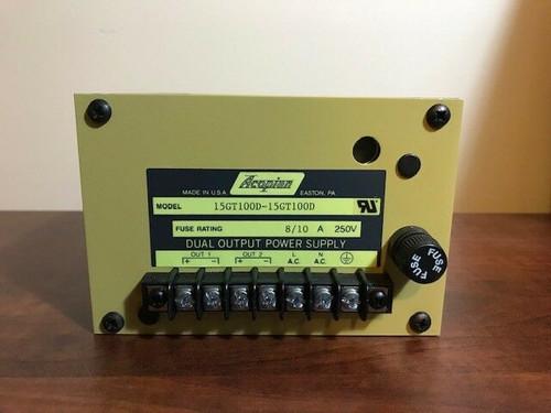 ACOPIAN 15GT100D-15GT100D DUAL OUTPUT POWER SUPPLY, 8/10 Amp, 250 Volt