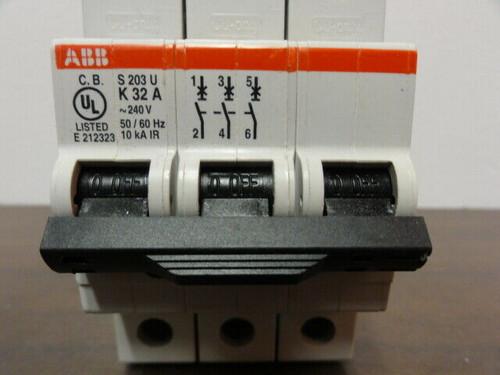 ABB S203U-K32A Mini Circuit Breaker 3-Pole 240 VAC, 50/60Hz, 10 ka IR