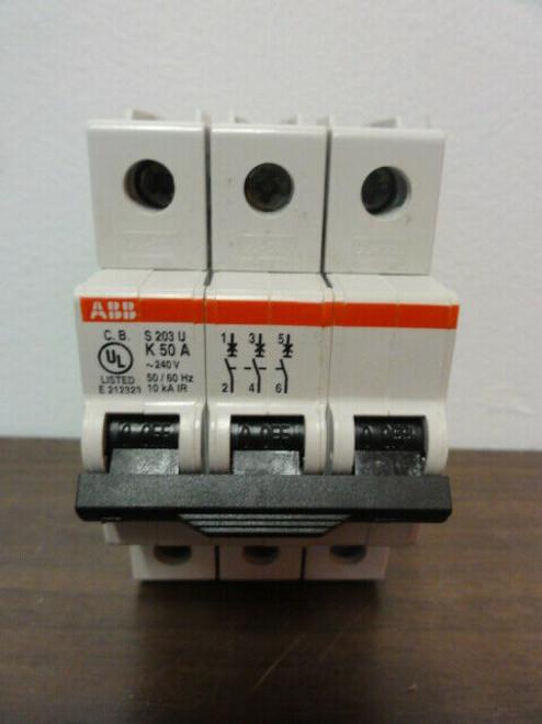 ABB S203U-K50A Circuit Breaker 3-Pole 240V 50/60Hz, 10 kA IR
