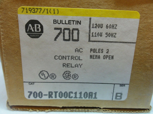 ALLEN BRADLEY 700-RT00C110A1 AC CONTROL RELAY, 2 POLE, BULLETIN 700 TYPE RT *NEW
