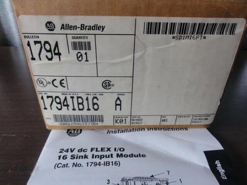 Allen Bradley 1794 Flex I/O 16 Sink Input Module- Used w/ Box