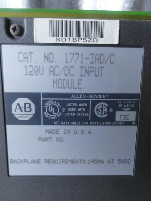 Allen Bradley 1771-IAD/C Input Module, 120V AC/DC, Backplane Req. 195MA at 5VDC