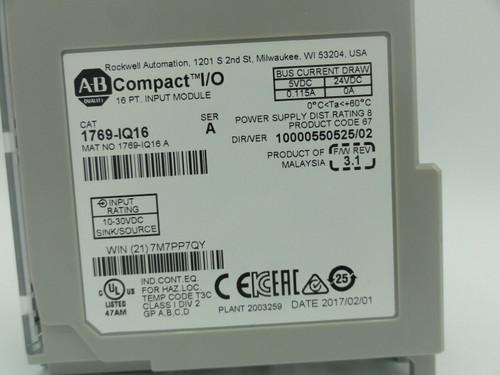 Allen Bradley Cat# 1769-IQ16 Compact I/O 16 pt. Input Module, Series A