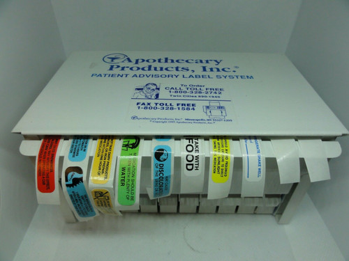 "Apothecary Products Metal Patient Advisory Label System, 4x4x7"" w/ Labels"