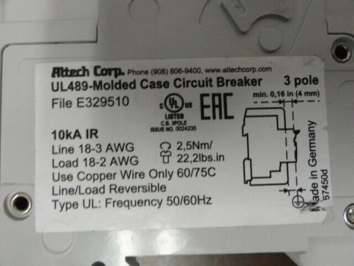 Altech ABL Sursum C60 3C60UL Circuit Breaker - 3 POLE