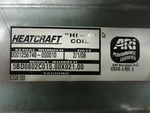 "ARI Heatcraft ""HI-F"" Model 5BD0802C015.00X21.00 Condenser Coil Radiator"