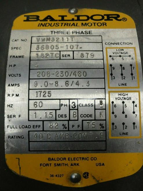 Baldor VWM3211T 3HP Motor, 208-230/460V, 1725RPM, 3PH, 60Hz, Frame 182TC