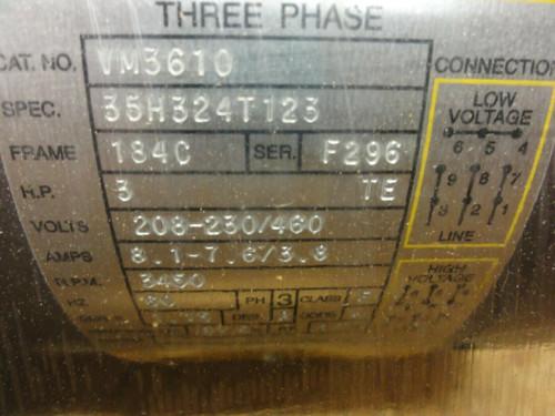 Baldor VM3610 3 HP 3 PH 208-230/460 V 3450 RPM Electric Motor NEW!